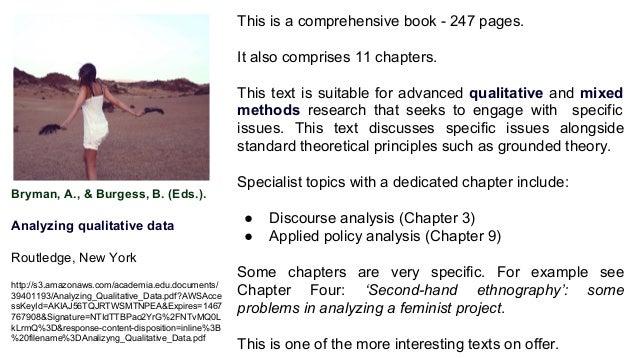 Bryman, A., & Burgess, B. (Eds.). Analyzing qualitative data Routledge, New York http://s3.amazonaws.com/academia.edu.docu...