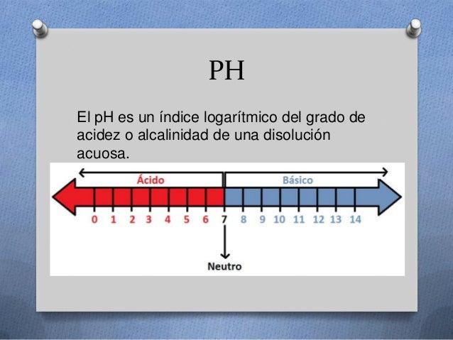 PH El pH es un índice logarítmico del grado de acidez o alcalinidad de una disolución acuosa.
