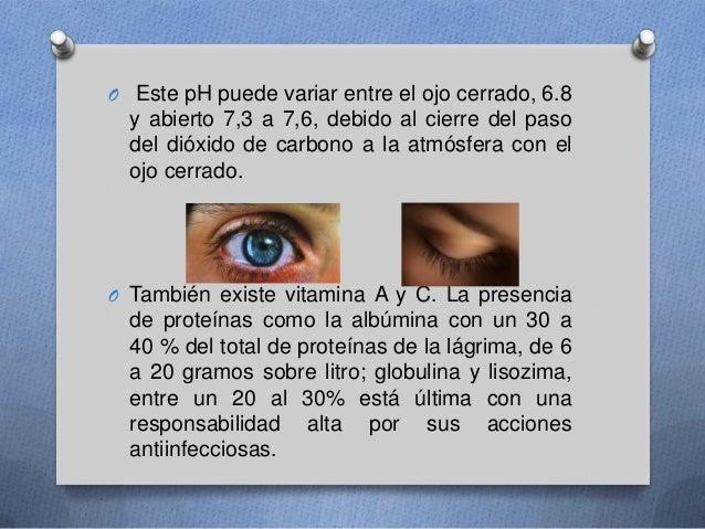 O Este pH puede variar entre el ojo cerrado, 6.8 y abierto 7,3 a 7,6, debido al cierre del paso del dióxido de carbono a l...
