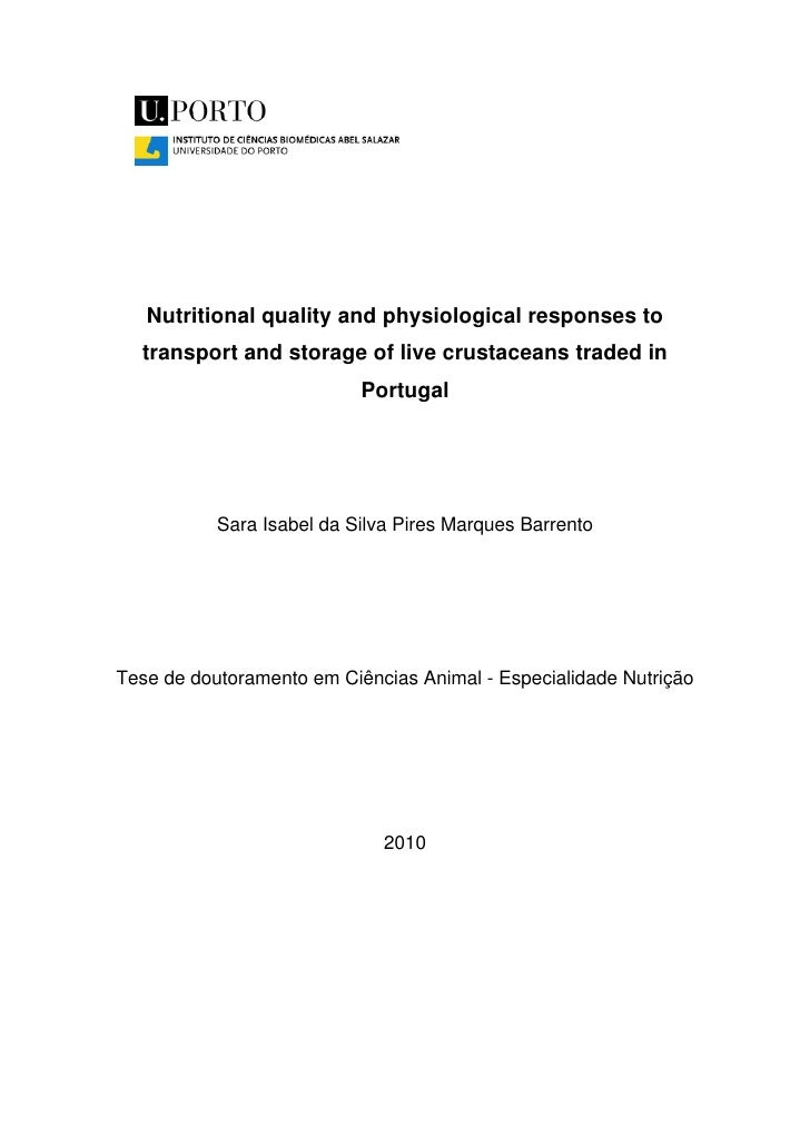 PhD thesis:Nutritional quality and physiological responses to transport and storage of live crustaceans traded in Portugal