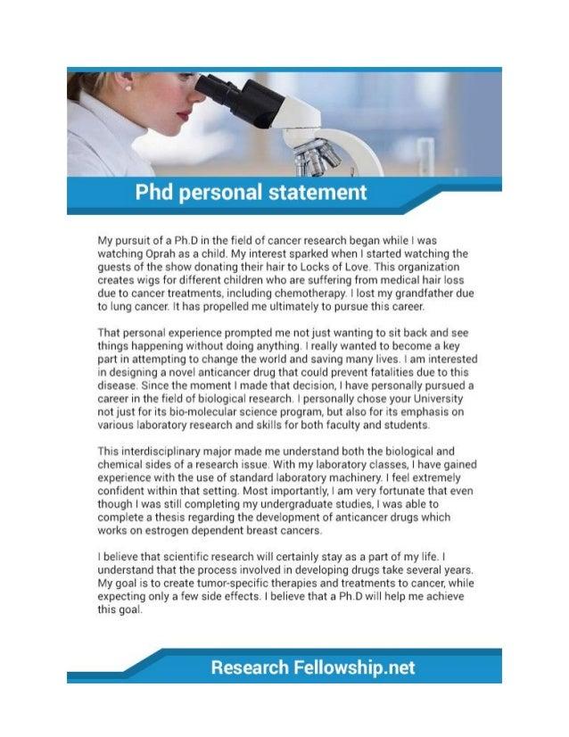 phd personal statement sample