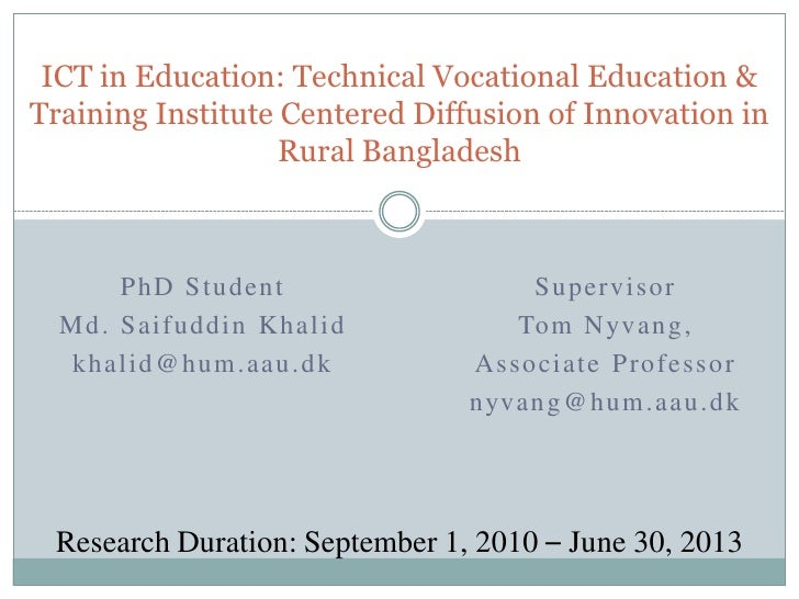 ICT in Education: Technical Vocational Education &Training Institute Centered Diffusion of Innovation in                  ...