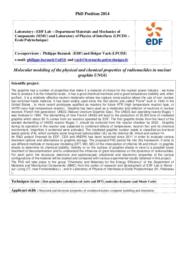 PhD Position 2014 Laboratory : EDF Lab -- Department Materials and Mechanics of Components (MMC) and Laboratory of Physics...