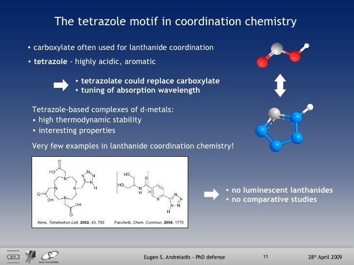 The tetrazole motif in coordination chemistry <ul><li>carboxylate often used for lanthanide coordination </li></ul><ul><li...