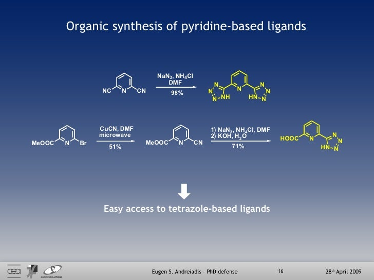 Organic synthesis of pyridine-based ligands Easy access to tetrazole-based ligands