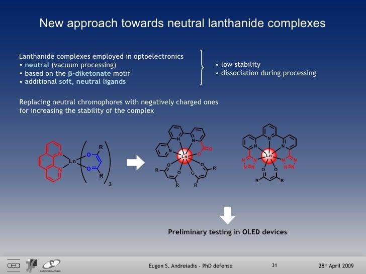 New approach towards neutral lanthanide complexes <ul><li>Lanthanide complexes employed in optoelectronics  </li></ul><ul>...