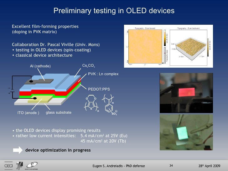 Preliminary testing in OLED devices Excellent film-forming properties (doping in PVK matrix)  <ul><li>Collaboration Dr. Pa...