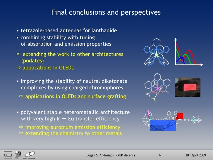 Final conclusions and perspectives <ul><li>combining stability with tuning  </li></ul><ul><li>of absorption and emission p...