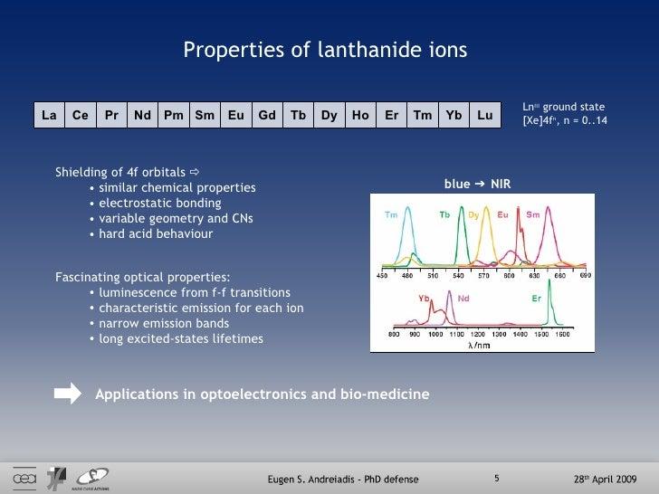 Properties of lanthanide ions <ul><li>Shielding of 4f orbitals   </li></ul><ul><ul><li>similar chemical properties </li><...