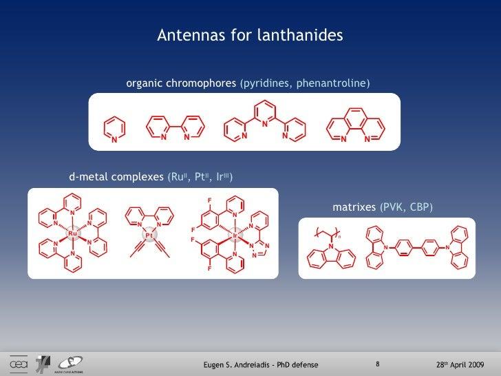 Antennas for lanthanides organic chromophores  (pyridines, phenantroline) d-metal complexes  (Ru II , Pt II , Ir III ) mat...