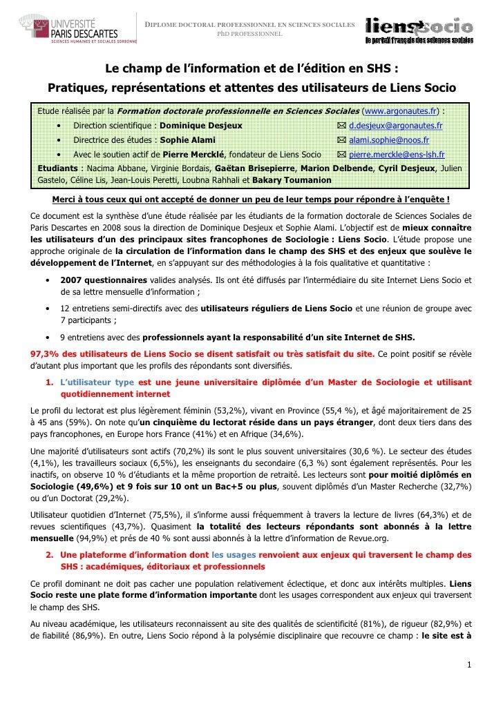 Faculté des sciences humaines et sociales– Sorbonne                                DIPLOME DOCTORAL PROFEESSIONNEL EN SCIE...
