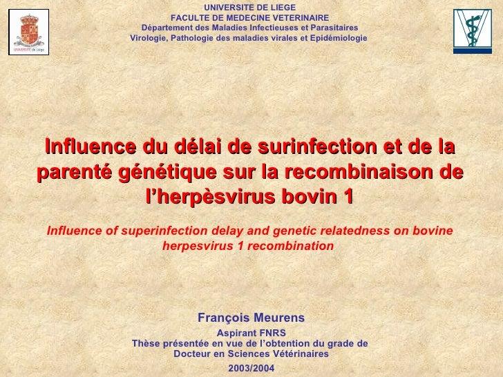 François Meurens Aspirant FNRS Thèse présentée en vue de l'obtention du grade de  Docteur en Sciences Vétérinaires 2003/20...