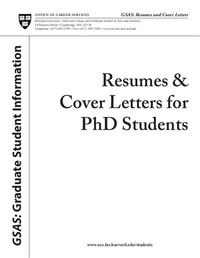 OFFICE OF CAREER SERVICES GSAS: Resumes And Cover Letters Resumes U0026 Cover  Letters For PhD ...
