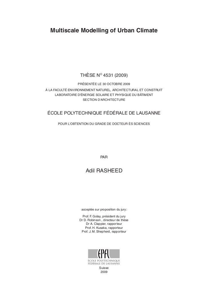 Multiscale Modelling of Urban Climate                       THÈSE NO 4531 (2009)                  PRÉSENTÉE LE 30 OCTOBRE ...