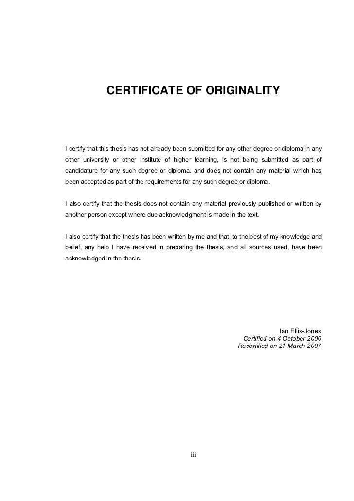 Dissertation declaration of originality