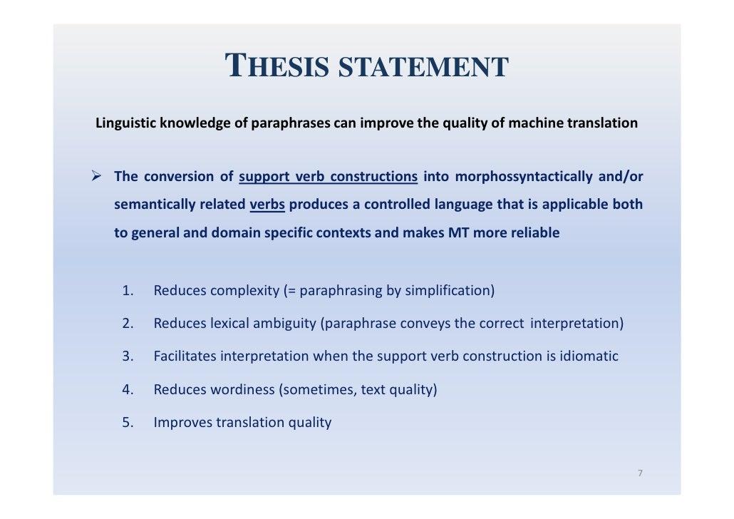 paraphrase thesis statement