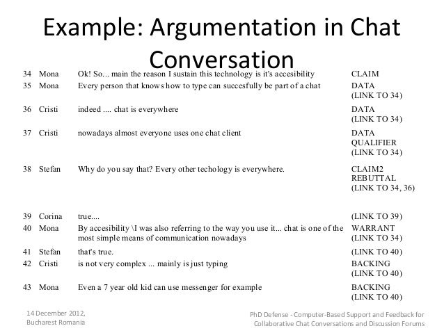 Example: Argumentation in Chat34 Mona              Conversation              Ok! So... main the reason I sustain this tech...
