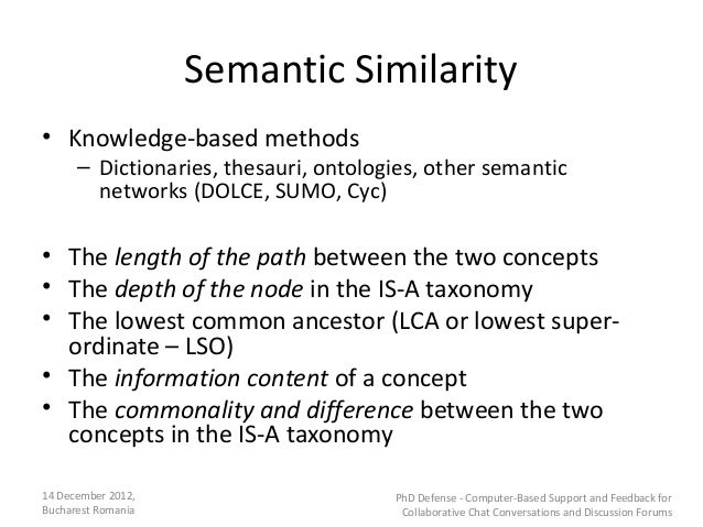 Semantic Similarity• Knowledge-based methods      – Dictionaries, thesauri, ontologies, other semantic        networks (DO...