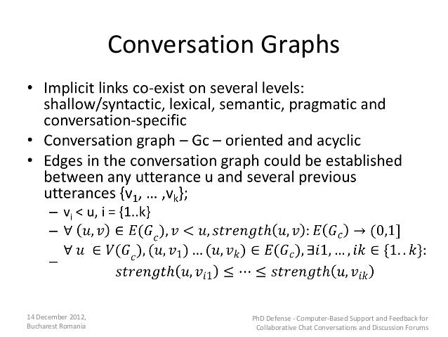 Conversation Graphs14 December 2012,              PhD Defense - Computer-Based Support and Feedback forBucharest Romania  ...