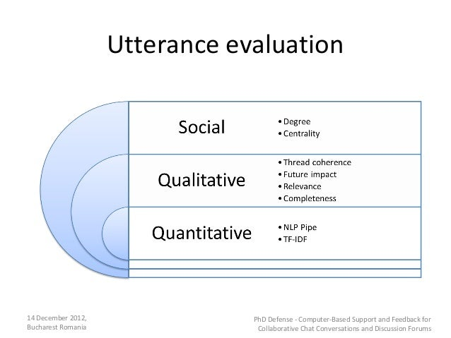 Utterance evaluation14 December 2012,               PhD Defense - Computer-Based Support and Feedback forBucharest Romania...