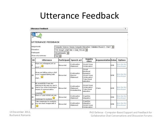 Utterance Feedback14 December 2012,              PhD Defense - Computer-Based Support and Feedback forBucharest Romania   ...