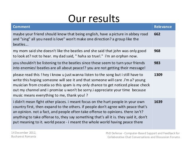 Our results Comment                                                                                      Relevance maybe y...