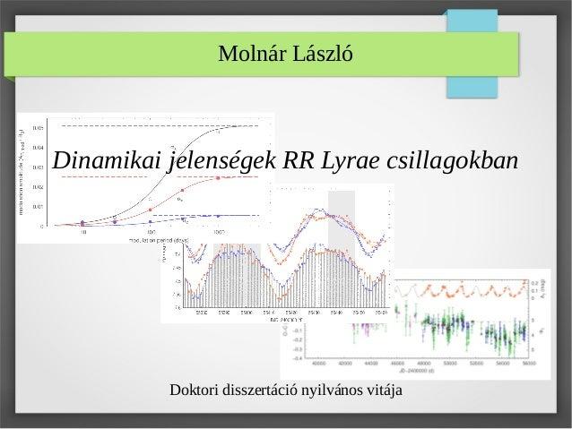 Molnár László Dinamikai jelenségek RR Lyrae csillagokban Doktori disszertáció nyilvános vitája