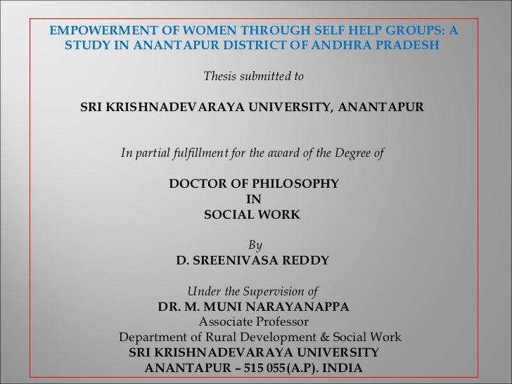doctoral thesis on self help groups