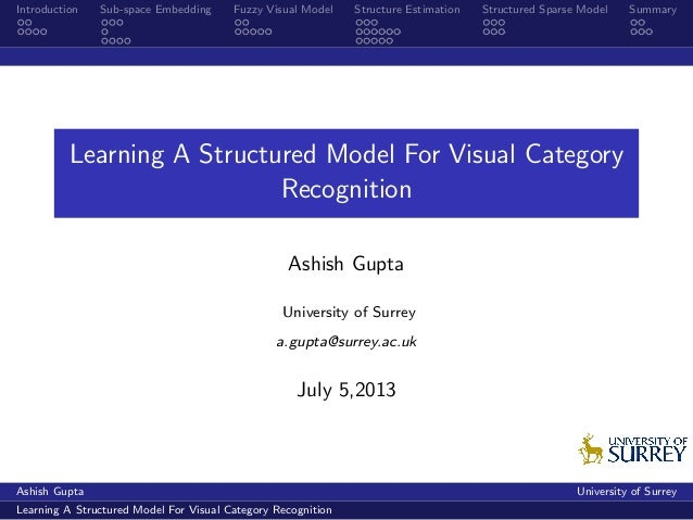 Introduction Sub-space Embedding Fuzzy Visual Model Structure Estimation Structured Sparse Model Summary Learning A Struct...