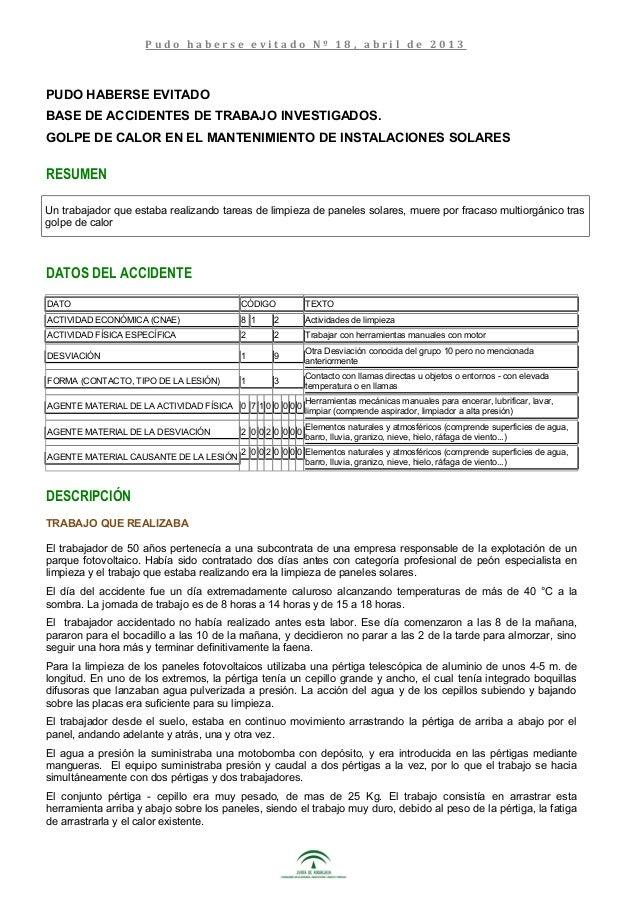 PUDO HABERSE EVITADO BASE DE ACCIDENTES DE TRABAJO INVESTIGADOS. GOLPE DE CALOR EN EL MANTENIMIENTO DE INSTALACIONES SOLAR...