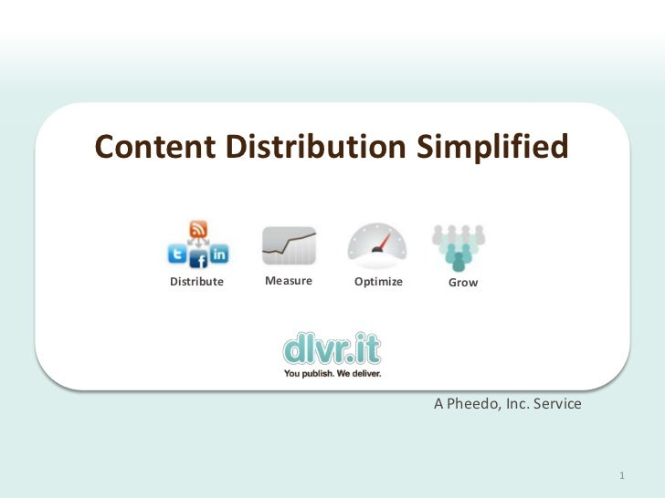 Content Distribution Simplified    Distribute   Measure   Optimize     Grow                                      A Pheedo,...