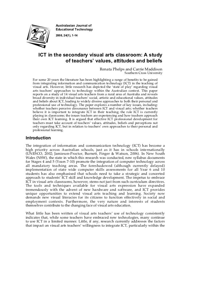 Australasian Journal of                    Educational Technology                    2008, 24(1), 1-14        ICT in the s...