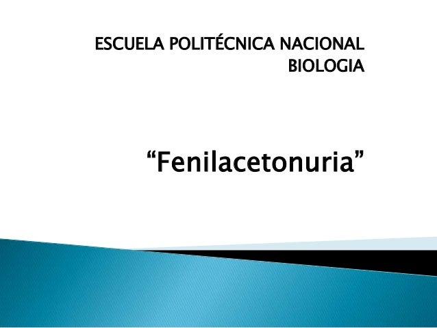 "ESCUELA POLITÉCNICA NACIONAL BIOLOGIA ""Fenilacetonuria"""