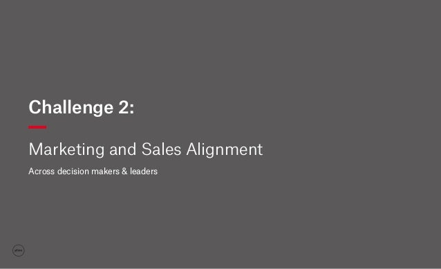Challenge 2: Marketing and Sales Alignment Across decision makers & leaders