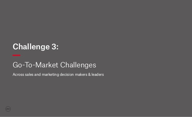 Challenge 3: Go-To-Market Challenges Across sales and marketing decision makers & leaders