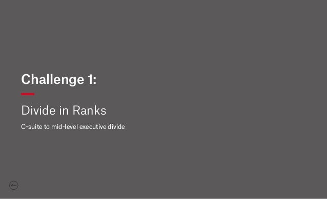Challenge 1: Divide in Ranks C-suite to mid-level executive divide