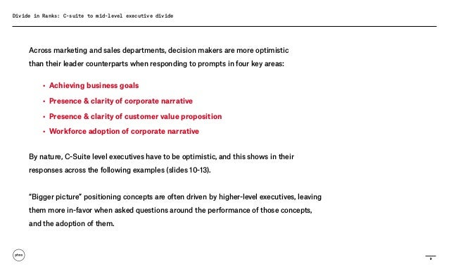 9 Divide in Ranks: C-suite to mid-level executive divide Across marketing and sales departments, decision makers are more ...