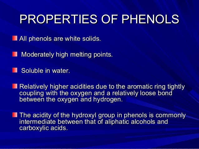 Physical And Chemical Properties Of Phenol