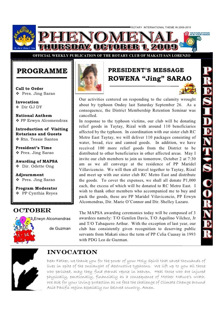 ROTARY INTERNATIONAL THEME IN 2009-2010                 OFFICIAL WEEKLY PUBLICATIO OF THE ROTARY CLUB OF MAKATI SA LORE ZO...