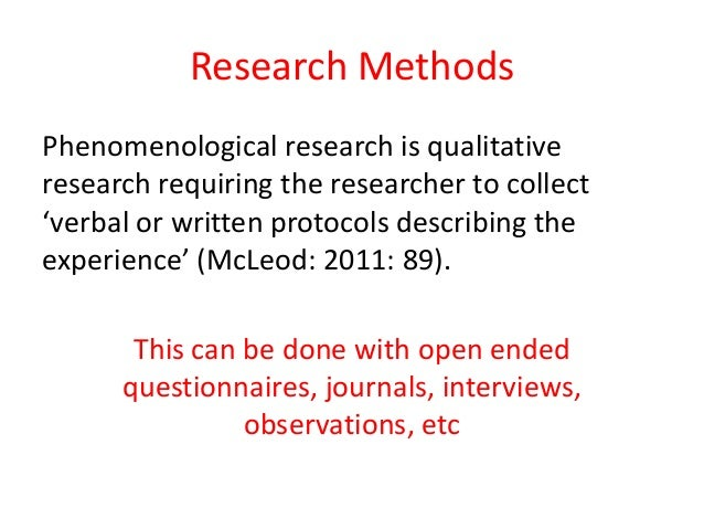Brief Introduction to Phenomenological Research