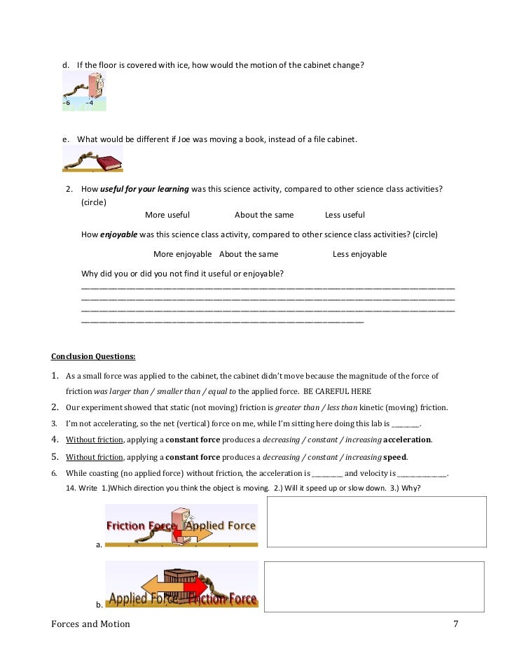 Phet forces student sheet