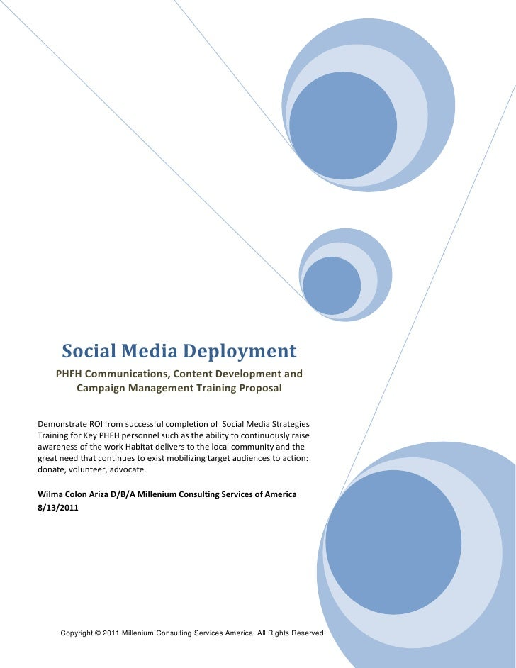 Social Media Deployment    PHFH Communications, Content Development and       Campaign Management Training ProposalDemonst...
