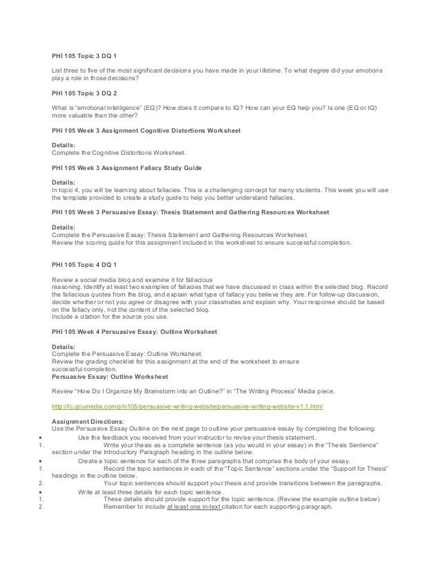 Phi 105 21 st century skills critical thinking and problem solving – Fallacies Worksheet