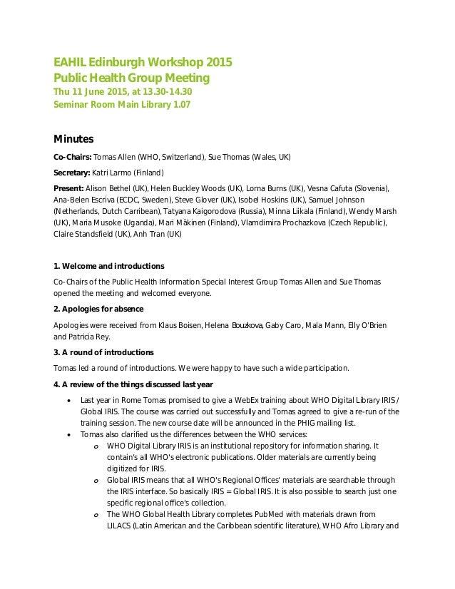 Public Health Group Meeting Minutes 2015 Eahil Edinburgh