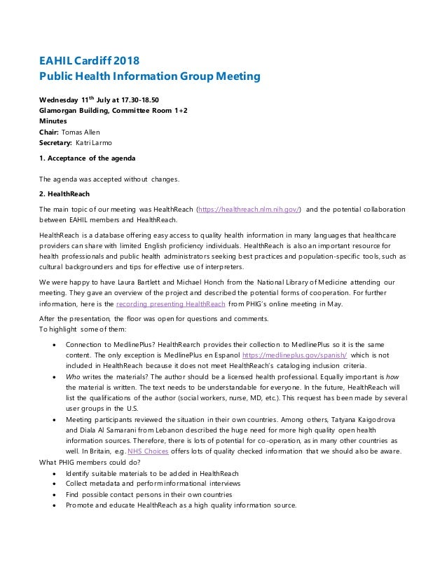 EAHIL Cardiff 2018 Public Health Information Group Meeting Wednesday 11th July at 17.30-18.50 Glamorgan Building, Committe...