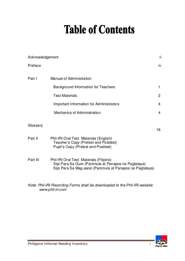 Acknowledgement ii  Preface iv  Part I Manual of Administration  Background Information for Teachers 1  Test Materials 2  ...