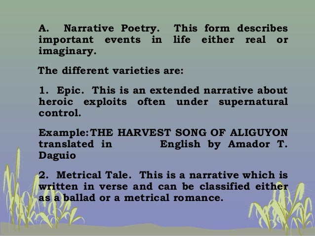 example of narrative poetry filipino author Reviewing examples of tagalog poems is a good way to view philippine poetry  written in the language  tagalog poems are primarily written by filipino authors.