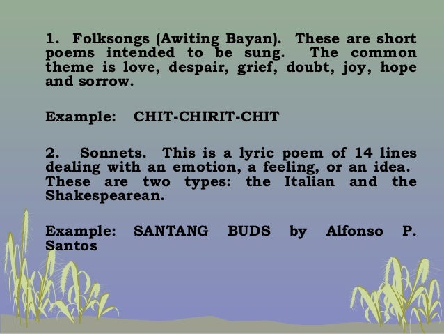 philippine narrative poems These are called narrative poems just like the regular stories which you  read in your literature courses, a narrative poem also has the same basic  elements.