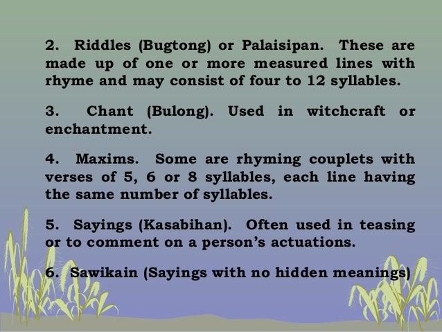 chant or bulong Parang bubuyog, bulong ng bulong 'pag may kamalasan sa 'king nangyari ikaw lang nang ikaw aking sinisisi kapag merong debate, sinong magaling.