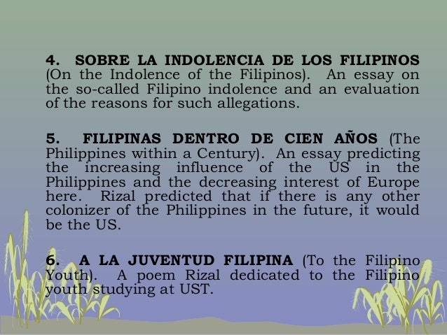 indolence associated with typically the filipinos composition writer